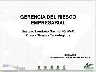 GERENCIA DEL RIESGO EMPRESARIAL Gustavo Londoño Gaviria. IQ. MsC. Grupo Riesgos Tecnológicos