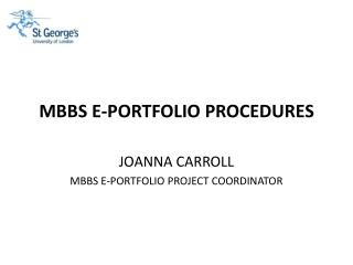 MBBS E-PORTFOLIO PROCEDURES