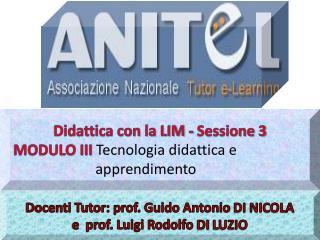 Docenti Tutor: prof. Guido Antonio DI NICOLA e prof. Luigi Rodolfo DI LUZIO