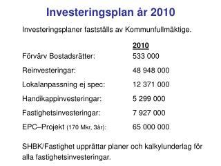 Investeringsplan år 2010