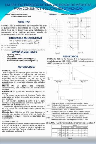 UM ESTUDO EMPÍRICO DE UMA VARIEDADE DE MÉTRICAS PARA CONJUNTOS-SOLUÇÃO EM OTIMIZAÇÃO