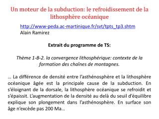 Un moteur de la subduction: le refroidissement de la lithosphère océanique