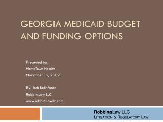 Georgia Medicaid Budget and Funding Options