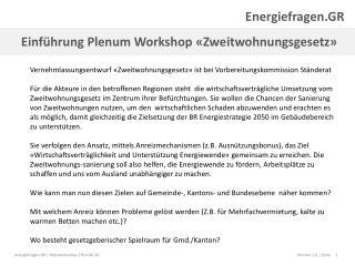 Einführung Plenum Workshop «Zweitwohnungsgesetz»