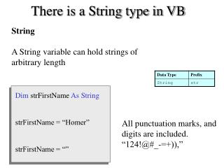 There is a String type in VB