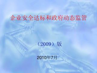 企业安全达标和政府动态监管 ( 2009 )版