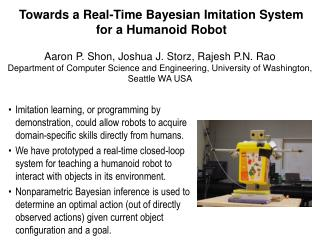Towards a Real-Time Bayesian Imitation System for a Humanoid Robot