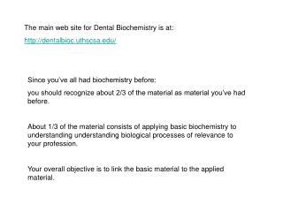 The main web site for Dental Biochemistry is at: dentalbioc.uthscsa/
