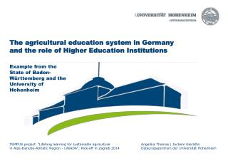 The agricultural education system in Germany and the role of Higher Education Institutions
