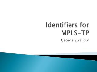 Identifiers for MPLS-TP