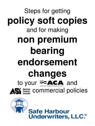 Steps for getting policy soft copies and for making non premium bearing endorsement changes