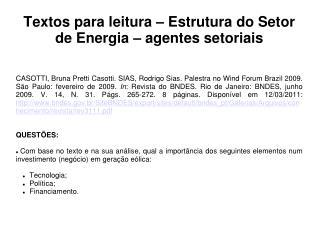 Textos para leitura – Estrutura do Setor de Energia – agentes setoriais