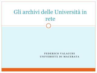 Gli archivi delle Università in rete