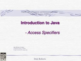 Introduction to Java - Access  Specifiers