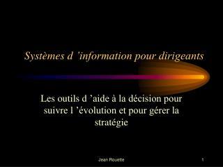 Systèmes d'information pour dirigeants