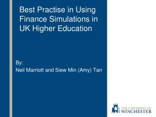 Best Practise in Using Finance Simulations in UK Higher Education