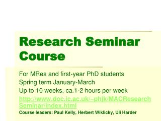 Research Seminar Course