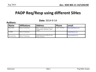 PADP Req / Resp using different SIHes