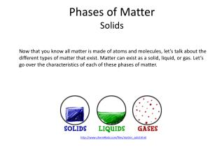 Phases of Matter Solids