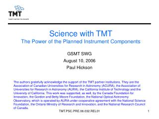 Science with TMT The Power of the Planned Instrument Components