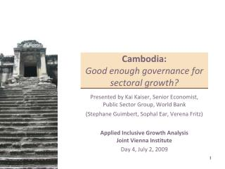 Cambodia: Good enough governance for sectoral growth?