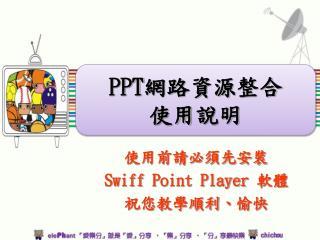 使用前請必須先安裝 Swiff Point Player 軟體 祝您教學順利、愉快