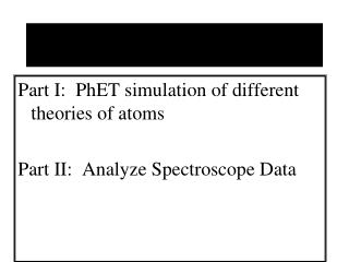 Part I:   PhET  simulation of different theories of atoms Part II:  Analyze Spectroscope Data
