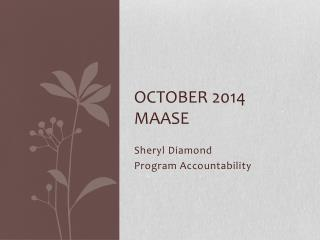 October 2014 MAASE
