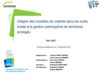 Wei WEI Soutenue publiquement le 11 décembre 2012