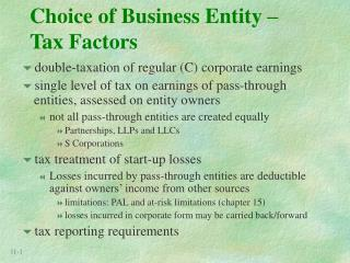 Choice of Business Entity – Tax Factors