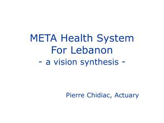 META Health System For Lebanon - a vision synthesis -