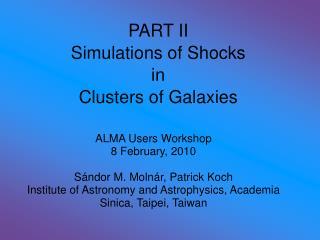 PART II Simulations of Shocks in Clusters of Galaxies