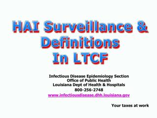 HAI Surveillance & Definitions In LTCF