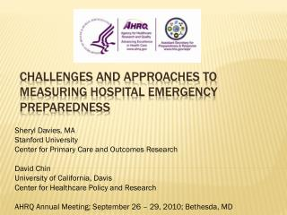 Challenges and Approaches to Measuring Hospital Emergency Preparedness