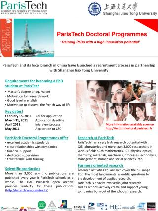 ParisTech Doctoral Programmes 'Training  PhDs with  a  high  innovation  potential '