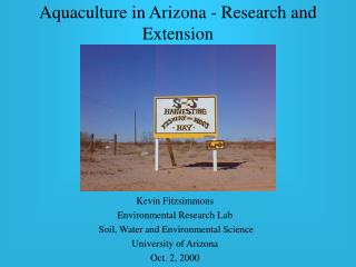 Aquaculture in Arizona - Research and Extension