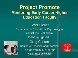 Project Promote Mentoring Early Career Higher Education Faculty