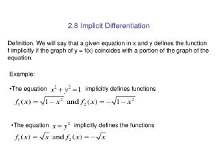 2.8 Implicit Differentiation