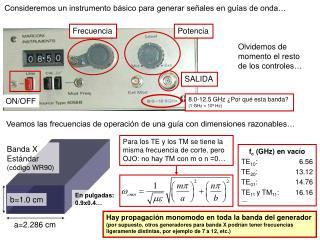 Consideremos un instrumento básico para generar señales en guías de onda…