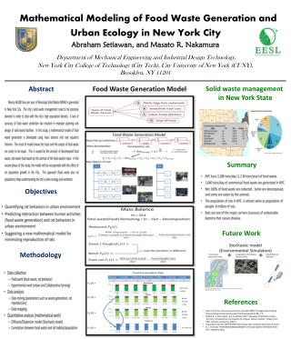 Mathematical Modeling of Food Waste Generation and Urban Ecology in New York City