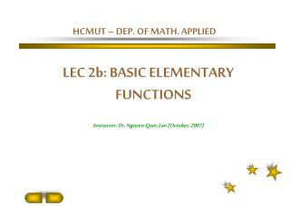 HCMUT – DEP. OF MATH. APPLIED