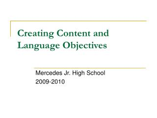 Creating Content and Language Objectives