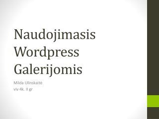 Naudojimasis Wordpress Galerijomis