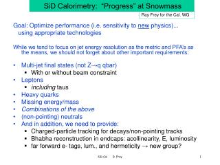 "SiD Calorimetry:  ""Progress"" at Snowmass"