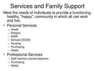 Services and Family Support