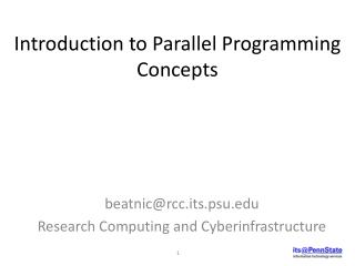 Introduction to Parallel Programming Concepts