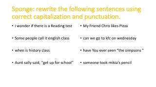 Sponge: rewrite the following sentences using correct capitalization and punctuation.