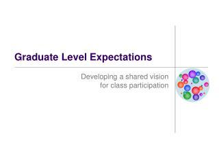 Graduate Level Expectations