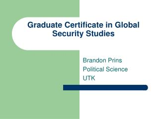 Graduate Certificate in Global Security Studies