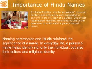 Importance of Hindu Names